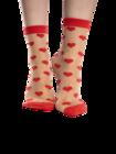 Nylon Socks Red Hearts