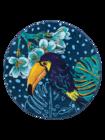 Veselý okrúhly plážový uterák Tropická džungľa