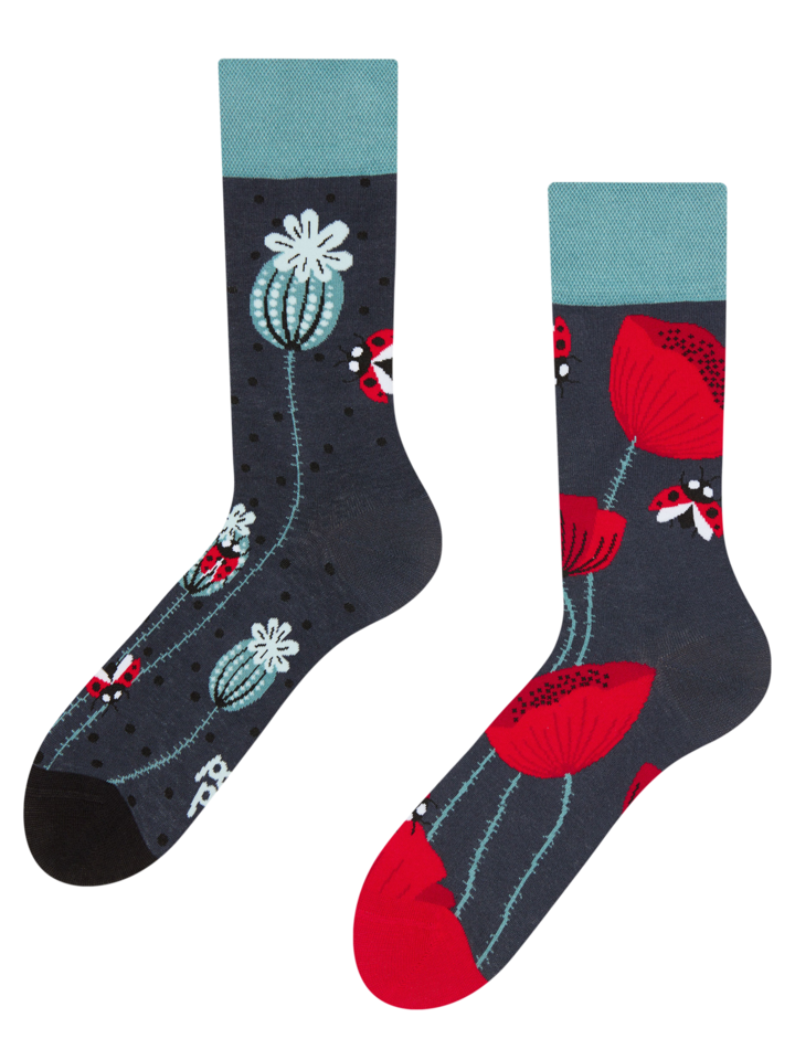 Sale Regular Socks Ladybugs & Poppy Flowers