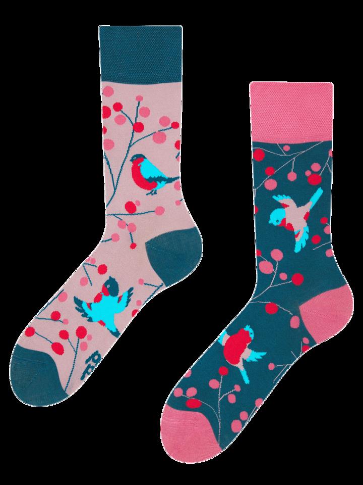 Pre dokonalý a originálny outfit Vrolijke  bamboe sokken Vogels in de lijsterbes