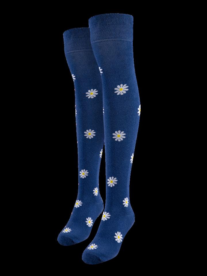 Pre dokonalý a originálny outfit Chaussettes rigolotes hautes au-dessus des genoux Marguerites blanches