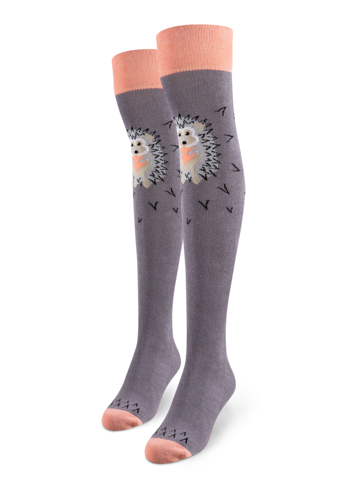 Looking for an original and unusual gift? The gifted person will surely surprise with Over the Knee Socks Grey Hedgehog
