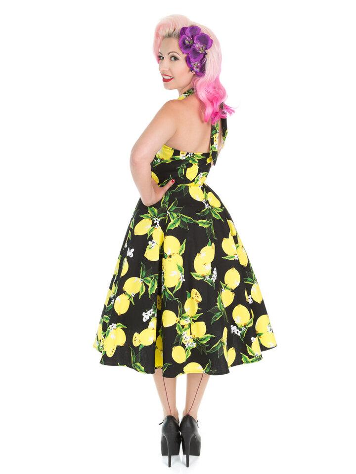 Výnimočný darček od Dedoles Čierne retro pin up šaty Citróny