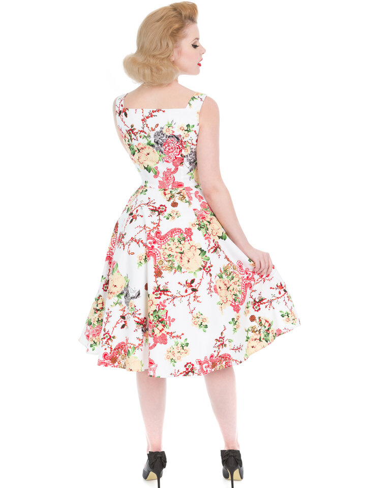 Sale White Retro Pin Up Dress Summer Flowers