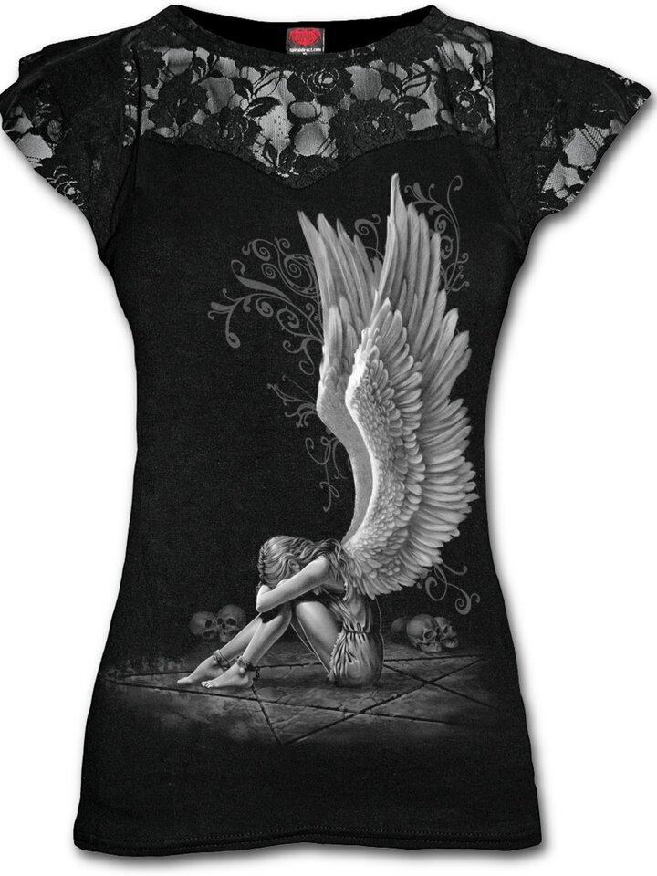 Bereiten Sie sich Freude mit diesem Dedoles-Stück Damen T-Shirt mit Spitze Flügel des Engels