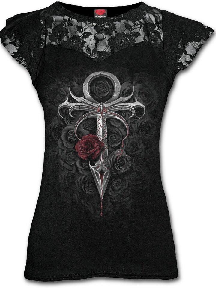 Výnimočný darček od Dedoles Dámske tričko s čipkou Vampíri meč