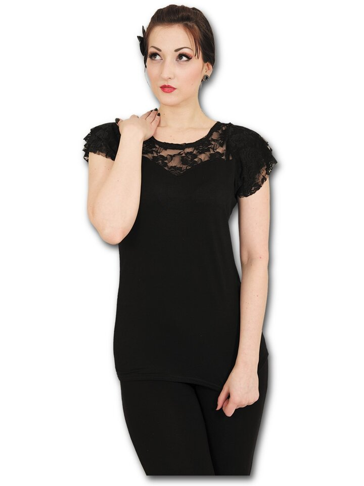 Potešte sa týmto kúskom Dedoles Dámske tričko s čipkou  Čierna
