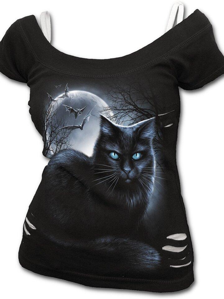 Hľadáte originálny a nezvyčajný darček? Obdarovaného zaručene prekvapí Dámske tričko 2v1 Mačka za splnu