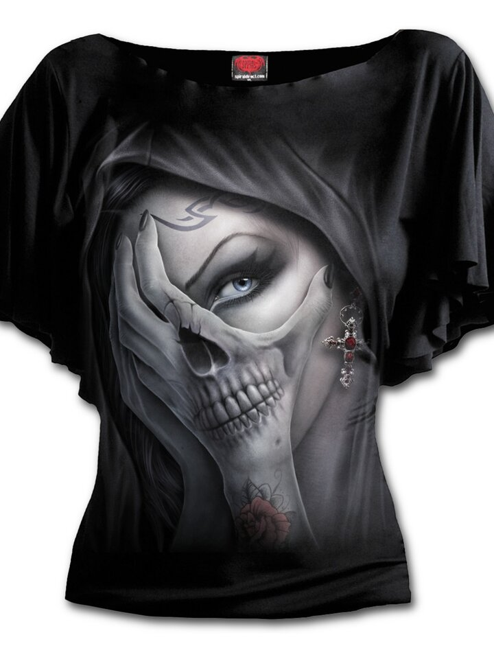 Sale Ladies' Ruffle T-shirt Hands of Fear