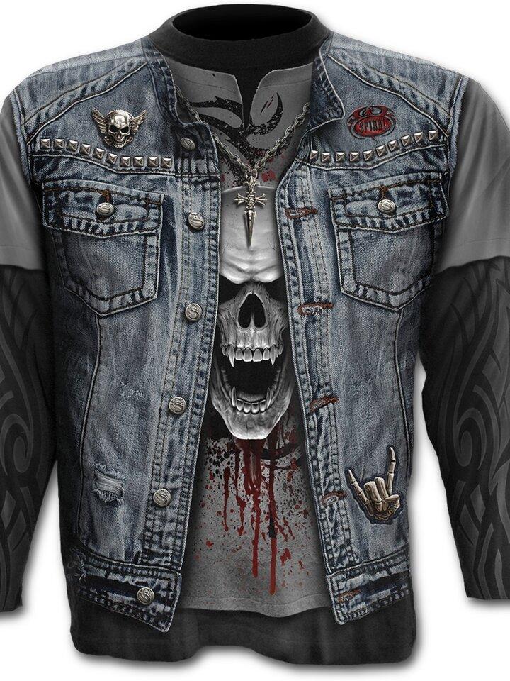Rabatt T-Shirt Langarm Jeansweste