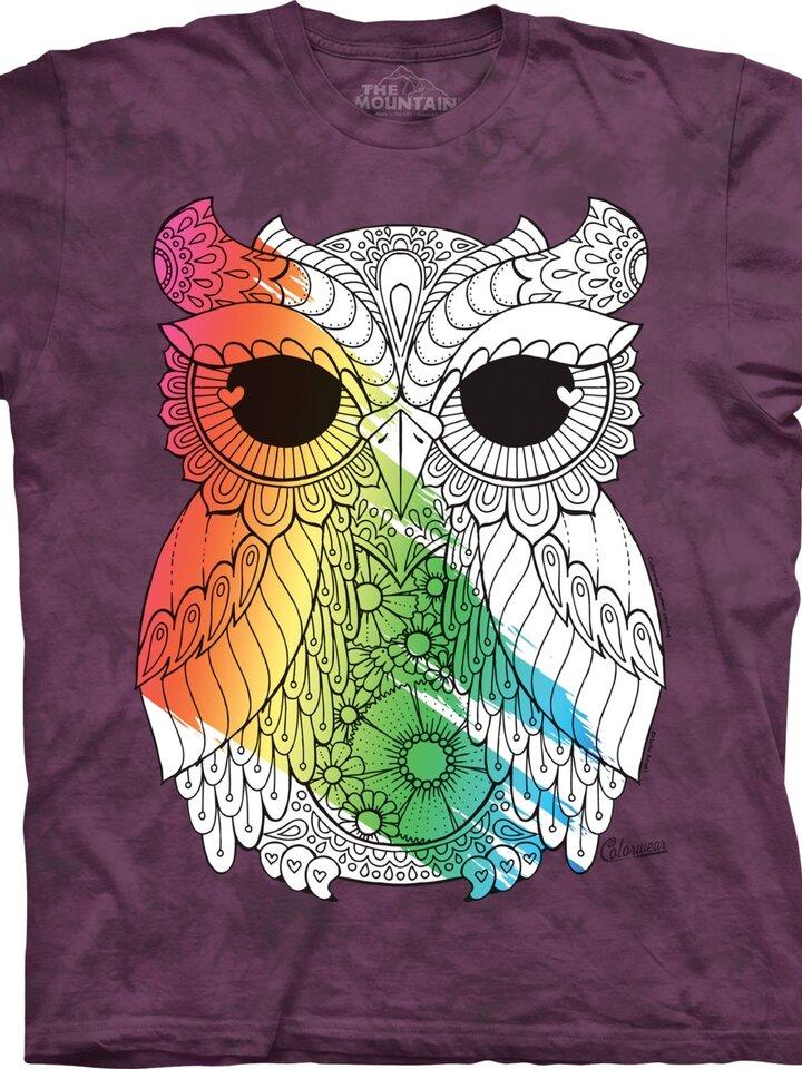 Obrázok produktu Mandala vyfarbovacie tričko Sova na fialovom