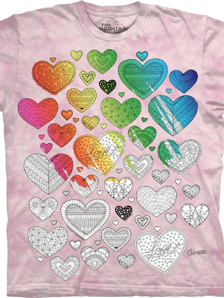 Sale Mandala Colouring T-shirt Hearts