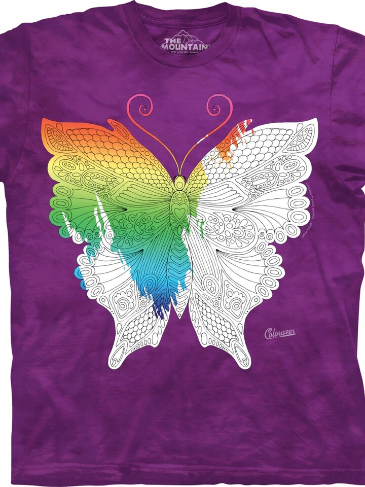 Sale Mandala Colouring T-shirt Butterfly
