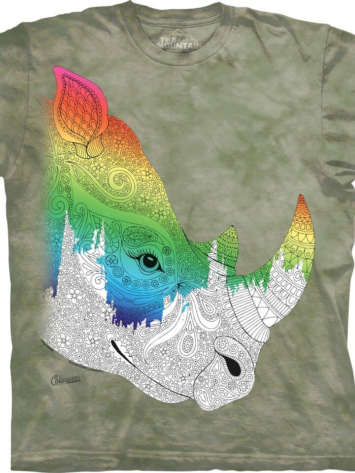 Potešte sa týmto kúskom Dedoles Mandala vyfarbovacie tričko Nosorožec