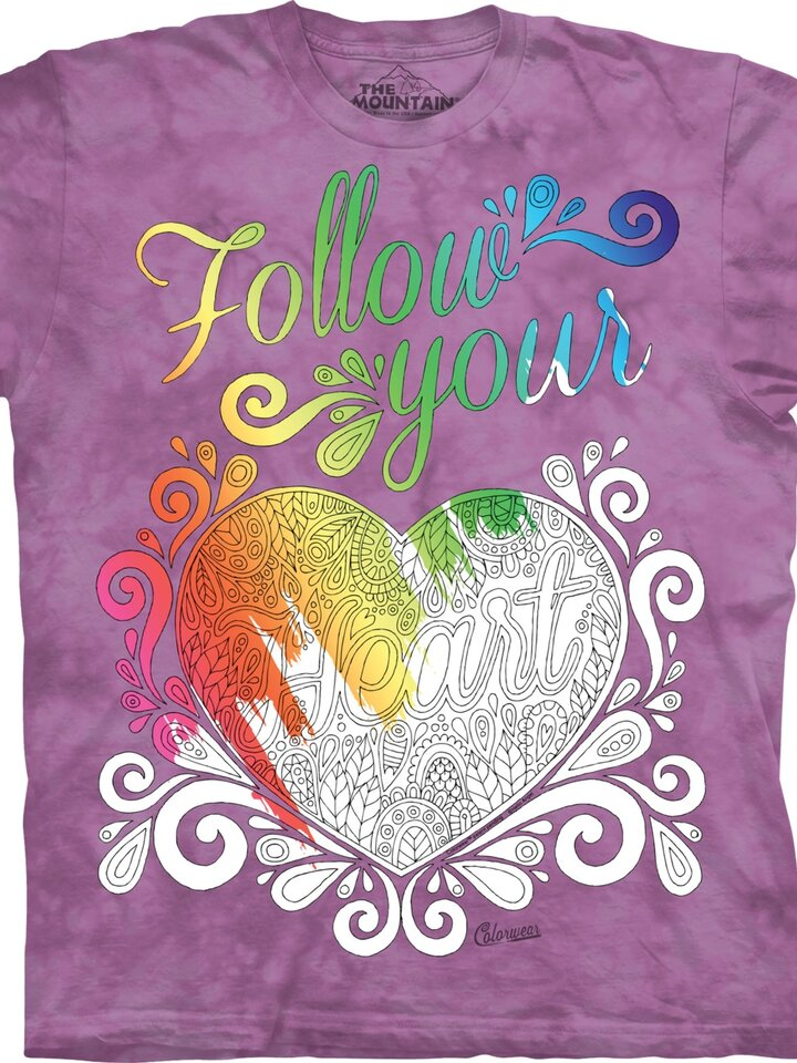 Sale Mandala Colouring T-shirt Follow Your Heart