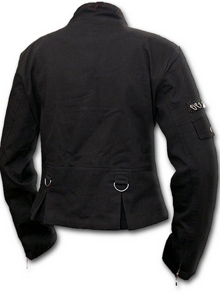 Tip na dárek Černá dámská bunda s řetízkovými aplikacemi