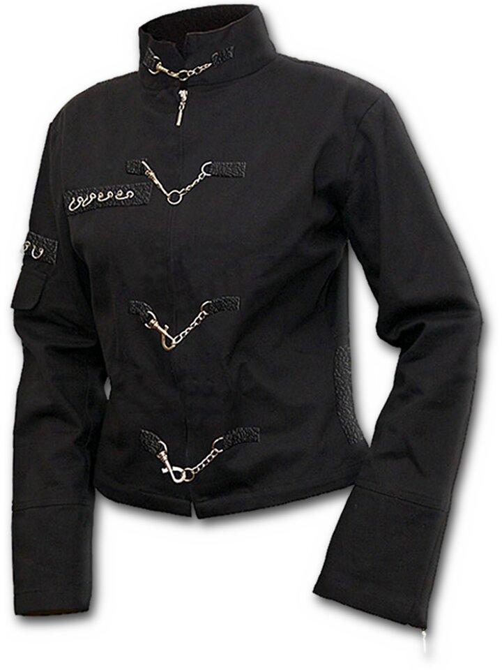 pro dokonalý a originální outfit Černá dámská bunda s řetízkovými aplikacemi