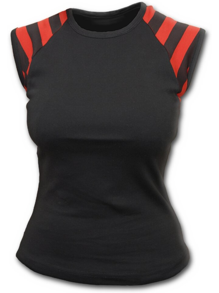 Ausverkauf Schwarzes Frauen-T-Shirt mit schwarzen und roten Streifen