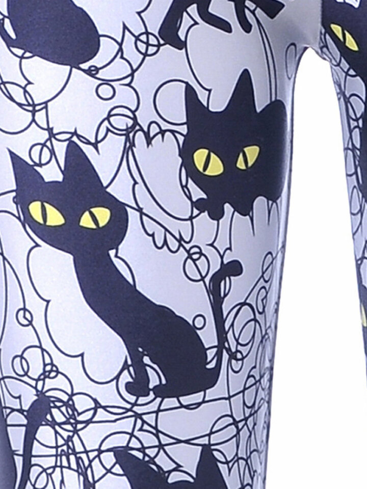 Looking for an original and unusual gift? The gifted person will surely surprise with Ladies' Elastic Leggings Black Cats