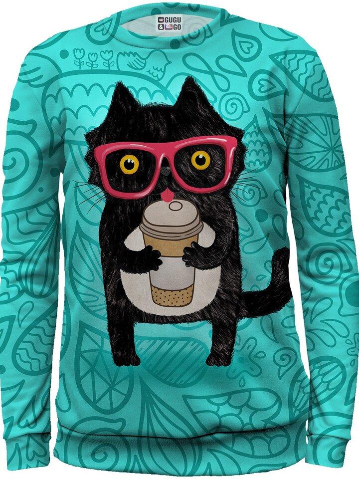 Dedoles oryginalny prezent Kids' Sweatshirt Cat with Coffee