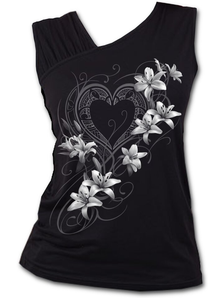 Foto Ladies' Tank Top with Frilled Shoulders and Design White Flowers