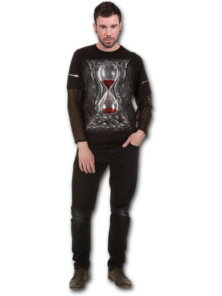 Gift idea T-shirt with Long Mesh Sleeve Bloody Hourglass
