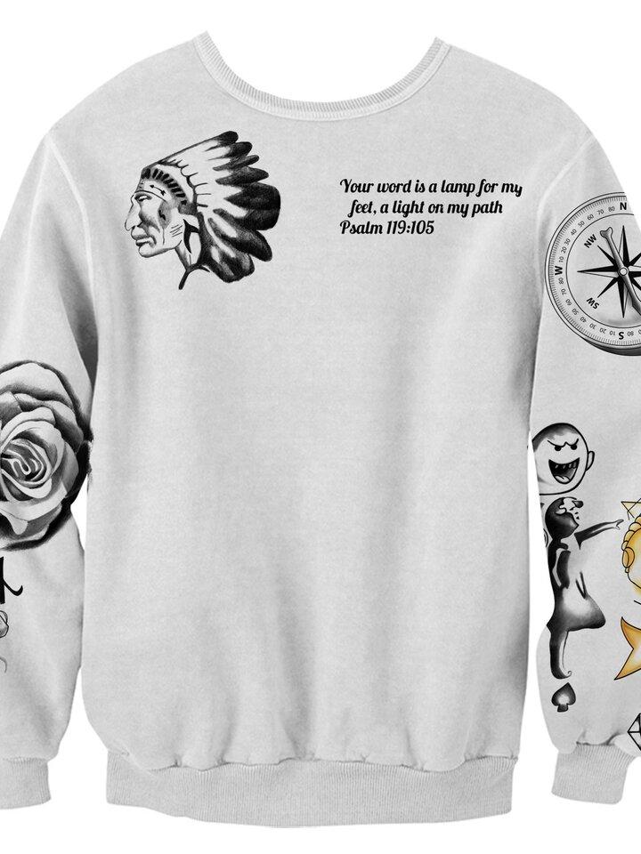 Rabatt Sweatshirt ohne Kapuze Justin Bieber Tattoos