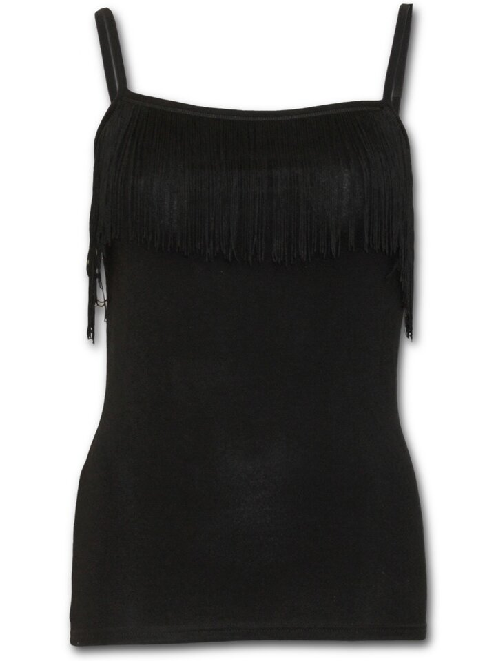 Sale Ladies' Tank Top with Fringe and Design Black