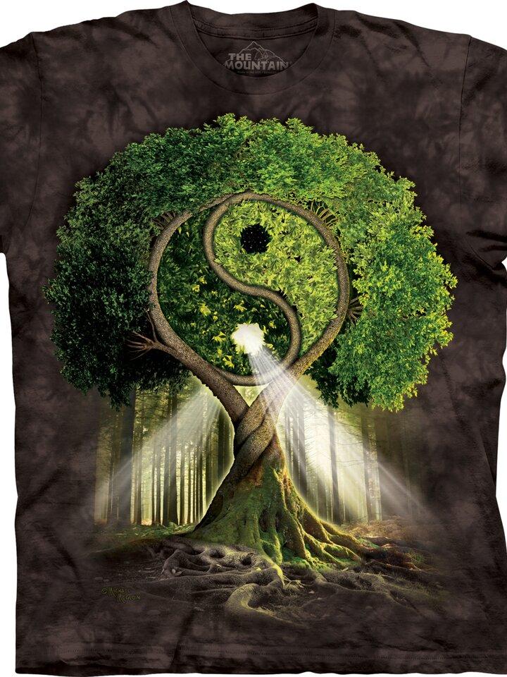 Sale Black T-shirt with Short Sleeve Yin Yang Tree