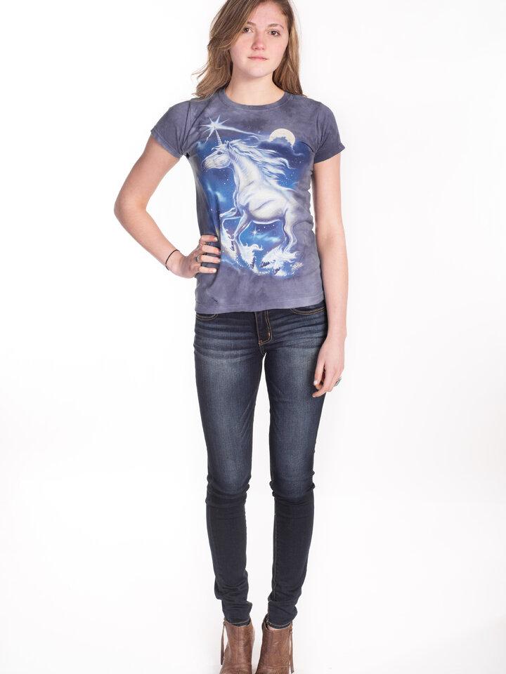Ausverkauf Damen T-Shirt Stern über Einhörner