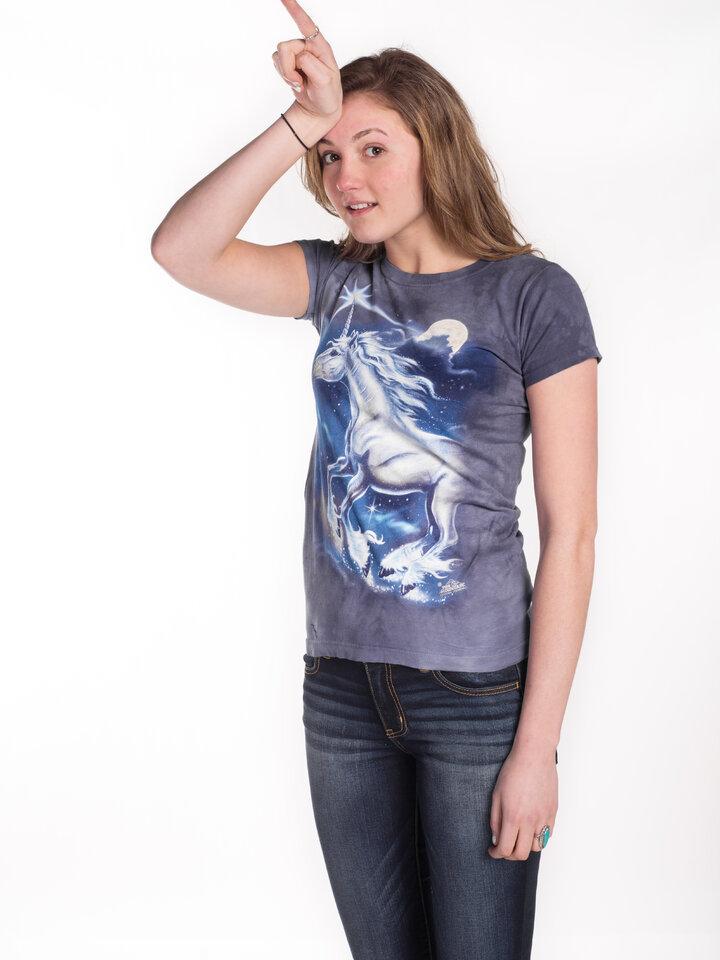 Foto Damen T-Shirt Stern über Einhörner
