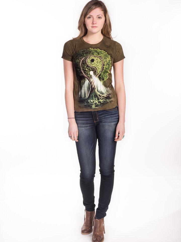 Foto Damen T-Shirt Yin Yang Baum