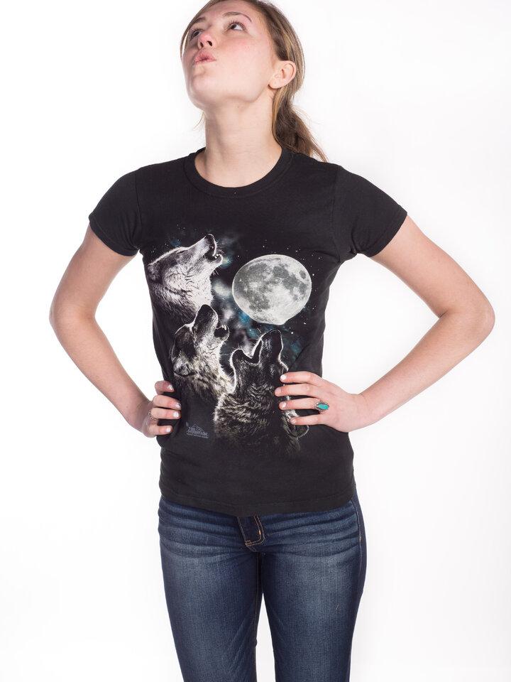 Foto Damen T-Shirt Drei auf Mond heulende Wölfe