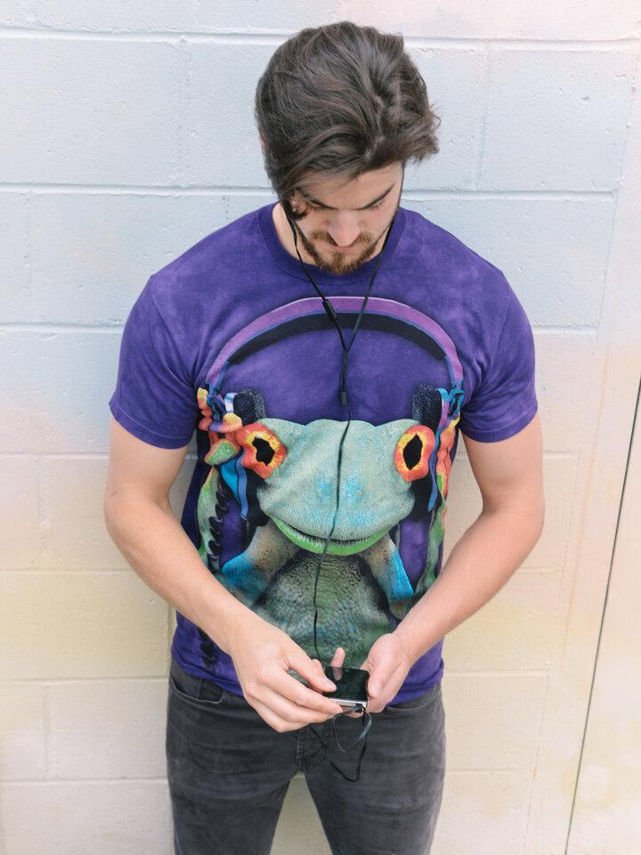 Zľava Tričko žaba so slúchadlami