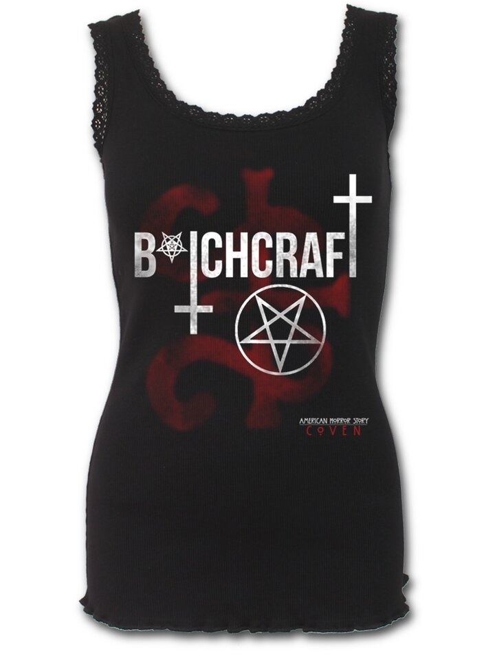 Potěšte se tímto kouskem Dedoles Dámské triko lemované krajkou s motivem American Horror Story Coven - Bitchcraft