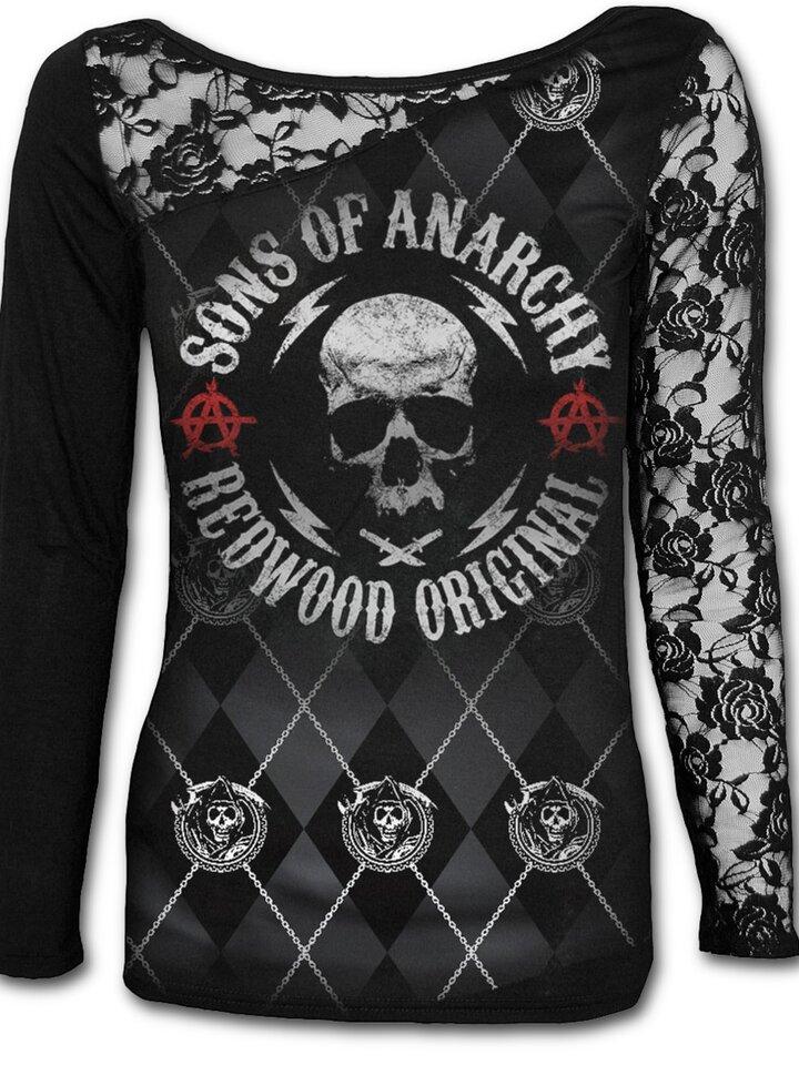 Pre dokonalý a originálny outfit Dámske tričko s čipkou s motívom Sons of Anarchy Redwood original