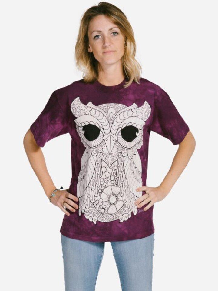 Potešte sa týmto kúskom Dedoles Mandala vyfarbovacie tričko Sova na fialovom