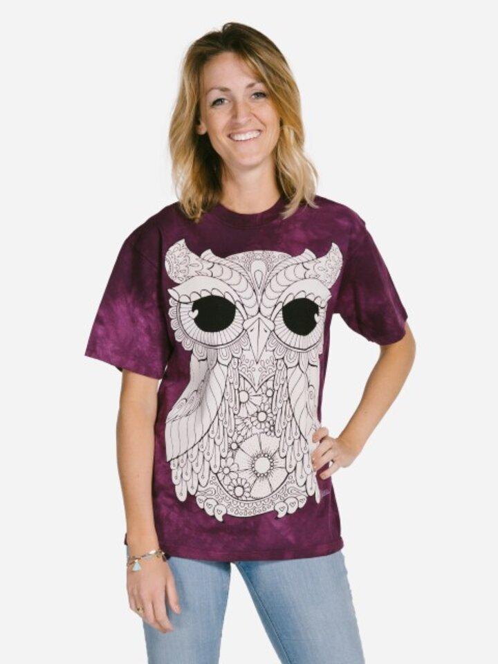 Pre dokonalý a originálny outfit Mandala vyfarbovacie tričko Sova na fialovom