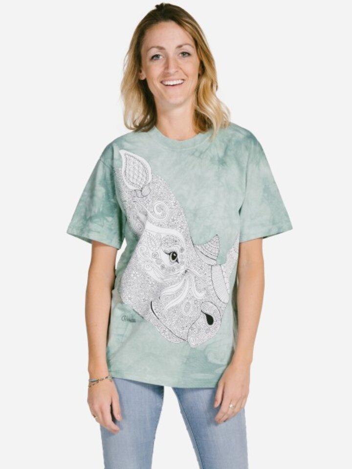 Lifestyle foto Mandala vyfarbovacie tričko Nosorožec