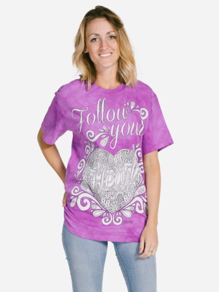 Výprodej Mandala vybarvovací tričko Následuj své srdce