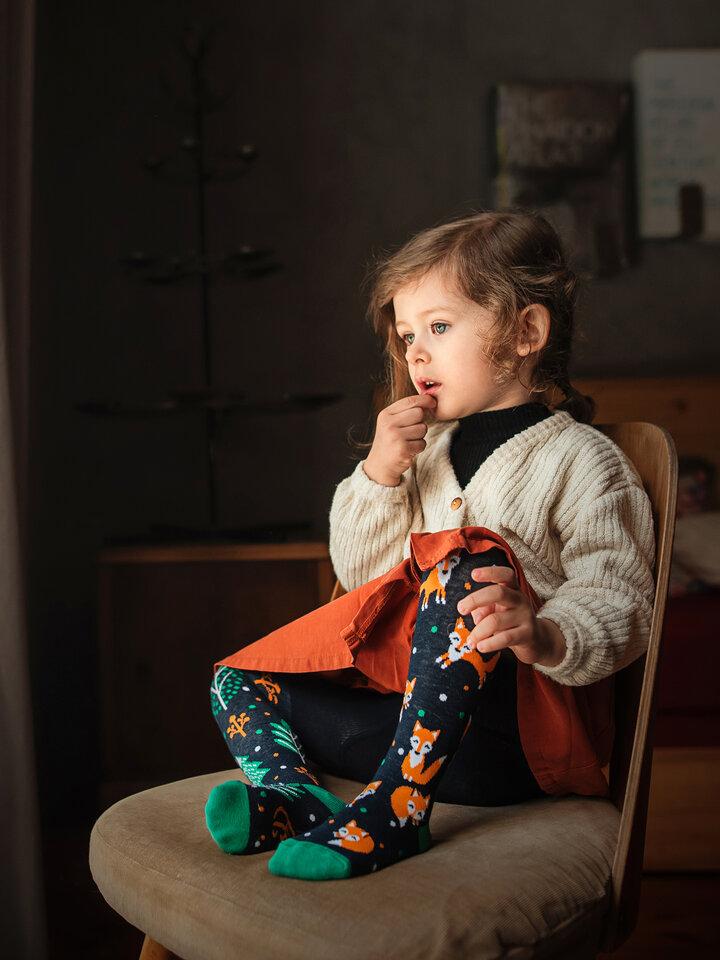 Pre dokonalý a originálny outfit Veselé detské pančušky Hrdzavá líška