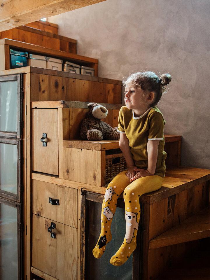 Hľadáte originálny a nezvyčajný darček? Obdarovaného zaručene prekvapí Collants rigolos pour enfants - Ours en peluche