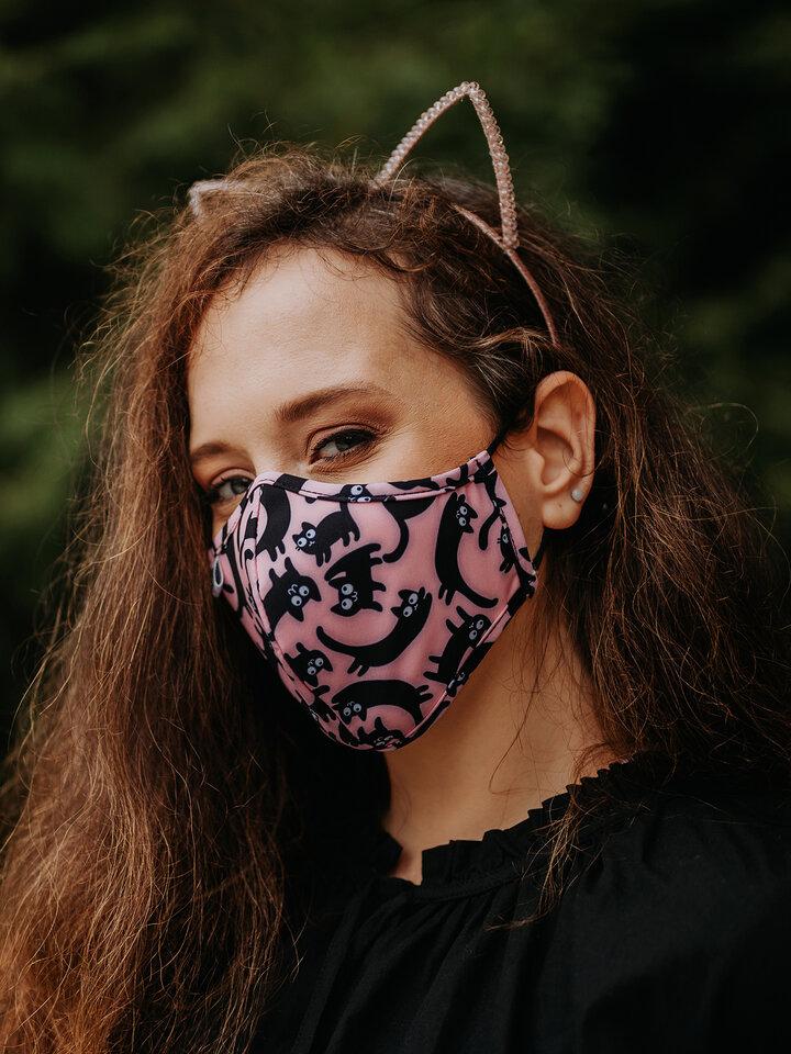 """Foto Lustige antibakterielle Gesichtsmaske Rosa Katzen - Größe """"Klein"""""""