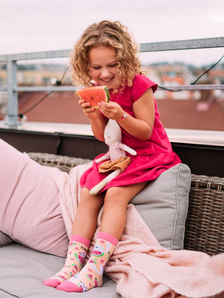 Ausverkauf Lustige Kindersocken Wassermelonen-Katze