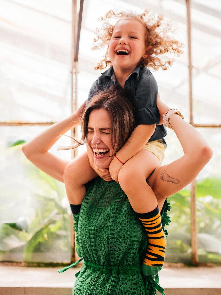 Lifestyle foto Vrolijke kindersokken Tijger