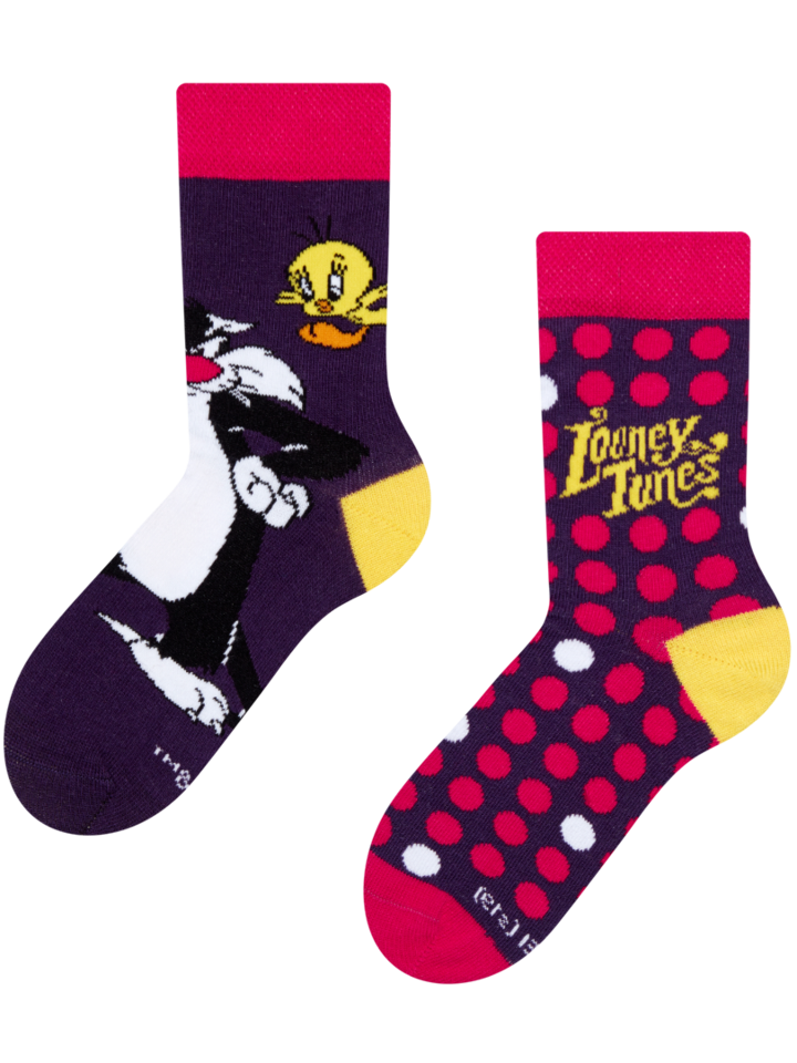 Potešte sa týmto kúskom Dedoles Dječje vesele čarape Looney Tunes ™ Sylvester a Tweety