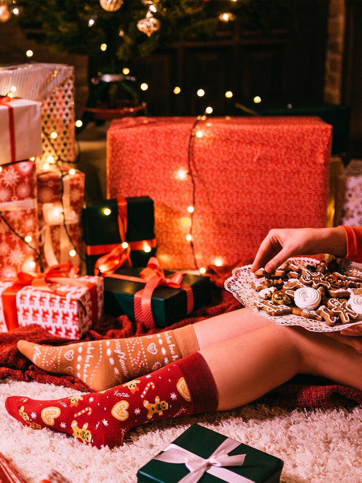Výnimočný darček od Dedoles Veselé teplé ponožky Perníkový svet