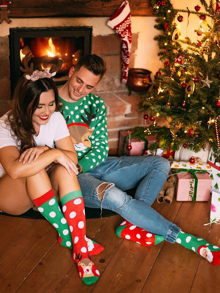 Výnimočný darček od Dedoles Chaussettes chaudes rigolotes Santa et Rudolphe