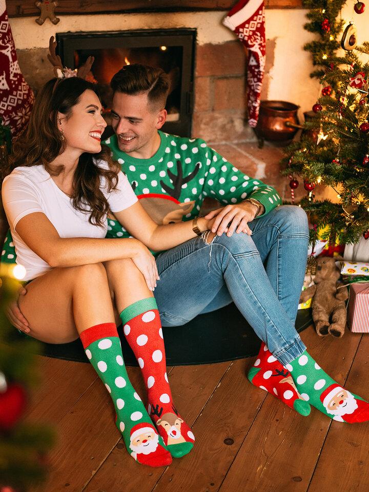 Foto Lustige warme Socken Santa und Rudolf
