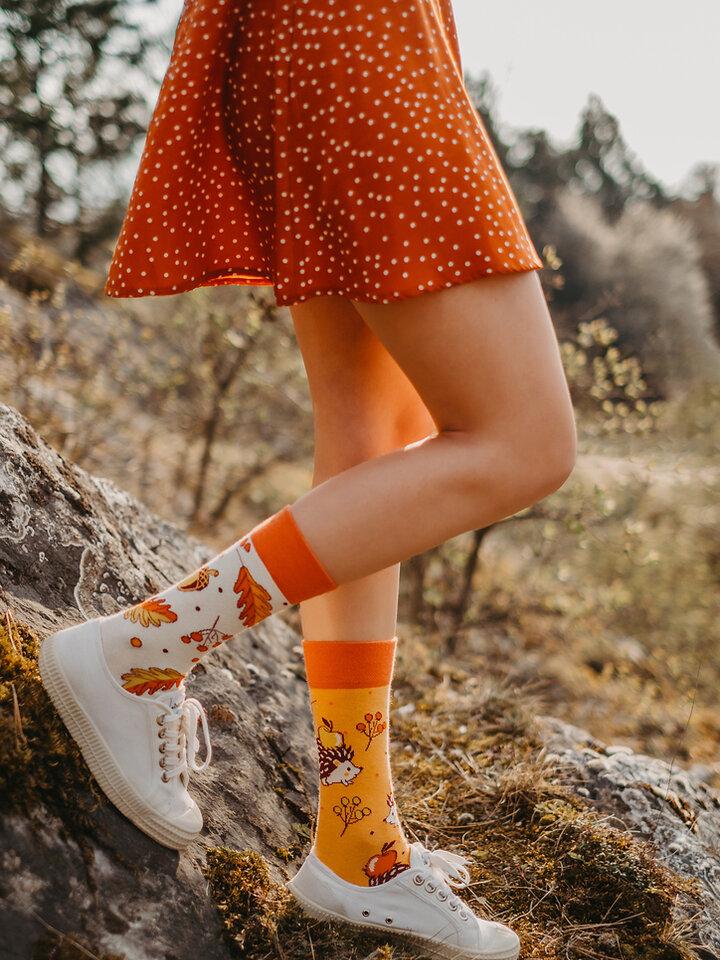 Pre dokonalý a originálny outfit Good Mood Eco Friendly Socks Autumn Hedgehog